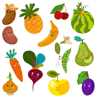 Set of cute vegetables and fruits.