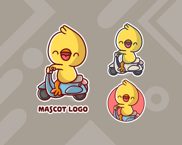 Set of cute vespa chicken mascot logo with optional appearance.