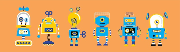 Set of cute vintage robots,  with robot toys collection