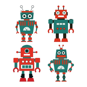 Set of cute vintage robots.