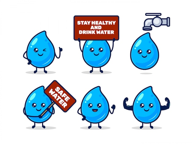 Set of cute water droplet mascot with various pose design