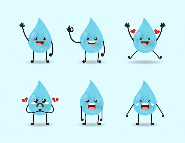 Set of cute water expression design