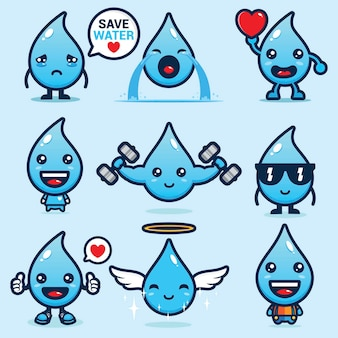 Set of cute water mascot vector designs