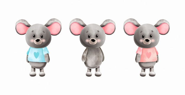 Set of cute watercolor mice. children's illustration.