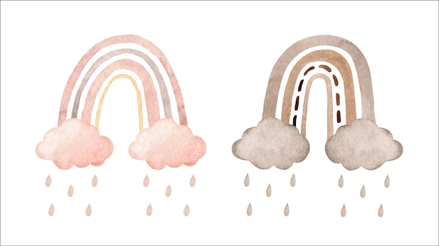 Set of cute watercolor rainbows with clouds and rain in pastel colors isolated on white background