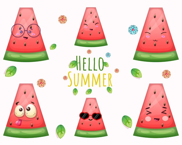 Set of cute watermelon and hello summer greeting card