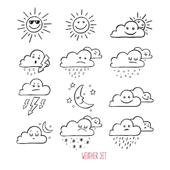 Set of cute weather icons. hand-drawn illustration