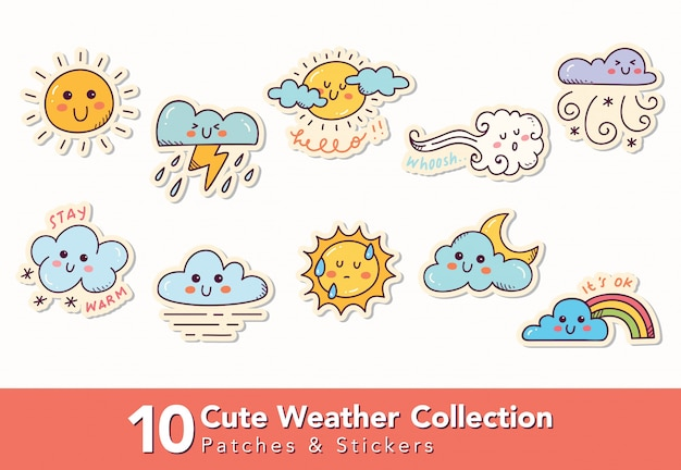 Set of cute weather patches and sticker