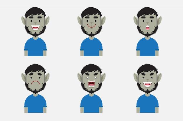 Set of cute werewolf avatar collection