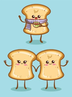 Set of cute white bread with different expression. cartoon character and illustration.