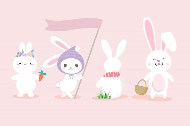 Set of cute white bunny hand drawn style.