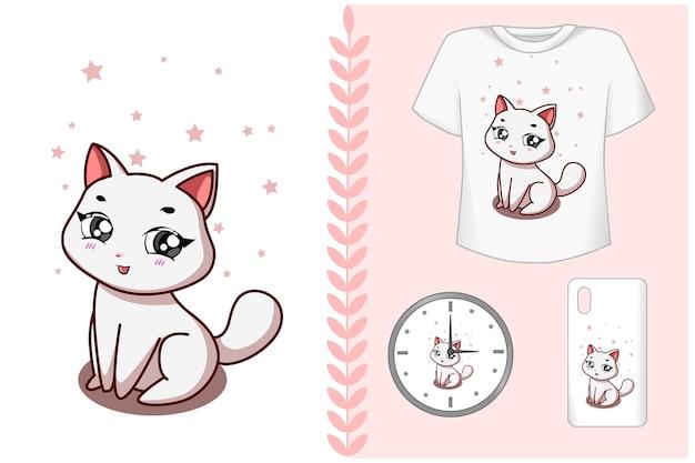Set, a cute white cat cartoon kawaii