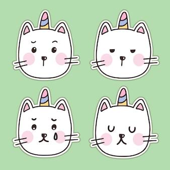 Set of cute white cat unicorn sticker cartoon illustration set