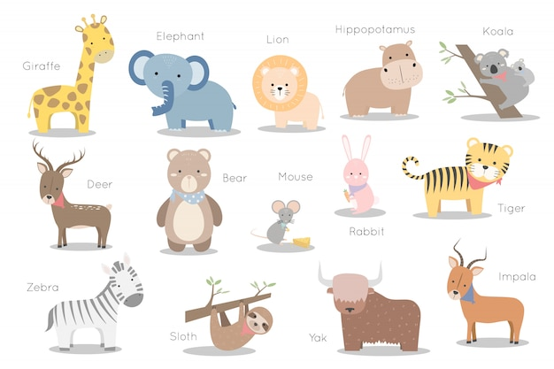 Set of cute wild animals character sticker element