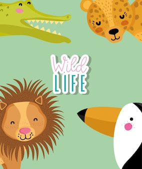 Set of cute wild animals