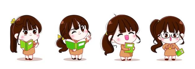 Set of cute woman teacher in government uniform character cartoon art illustration