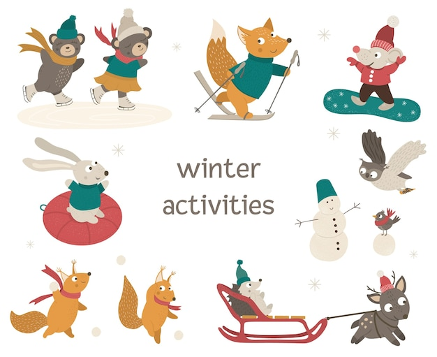 Set of cute woodland animals doing winter activities. funny characters with ski, skates, sleigh, snowboard, snowman.
