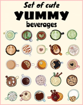 Set of cute yummy beverages. cups of tea and coffee