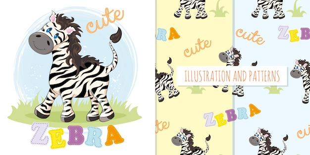 Set of cute zebra and patterns