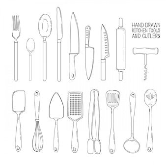 A set of cutlery. cutlery spoon, fork, blender, knives. cutlery for cooking. a set of cutlery for serving. line set of kitchen cutlery.