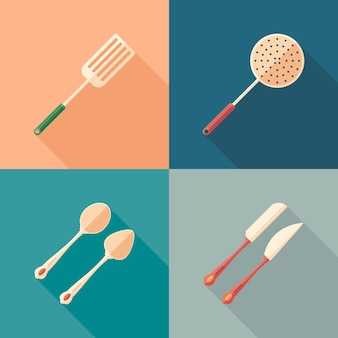 Set of cutlery flat square icons with long shadows.
