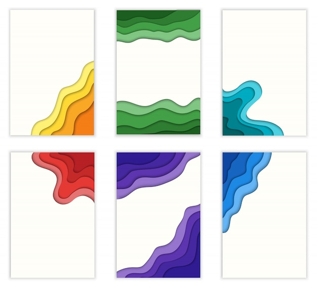 Set of cutting paper shape 3d abstract  illustration