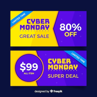 Set of cyber monday banners in flat design