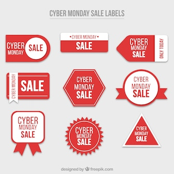 Set of cyber monday red stickers Free Vector