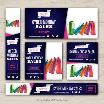 Insieme delle bandiere di vendita di cyber lunedì Vettore gratuito