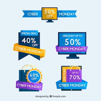 Set of cyber monday stickers in flat design