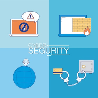 Set of cyber security icons collection