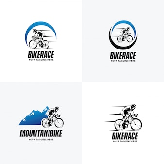 Set of cycling logo design templates