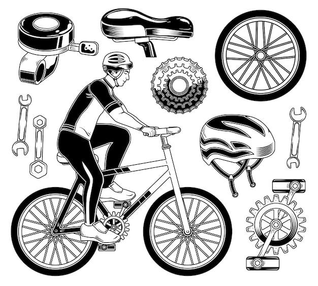 Set of cyclist elements