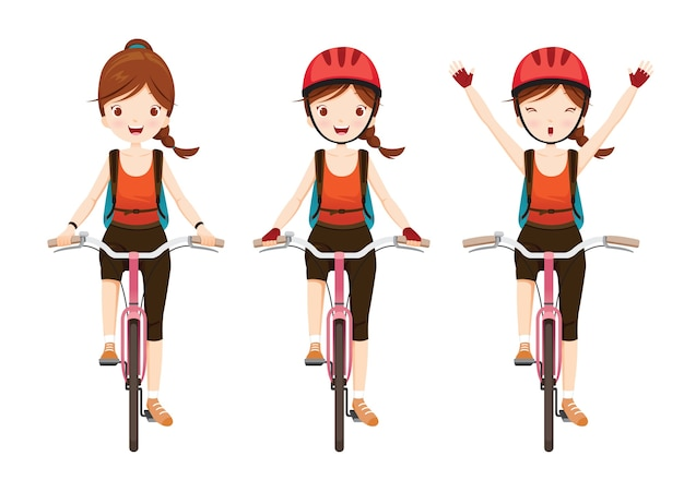 Set of cyclist girl riding bicycle