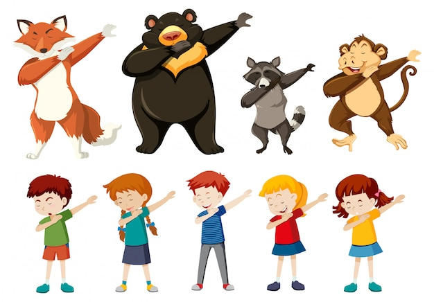 Set of dabbing people and animals