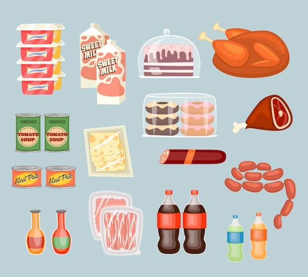 Set of daily food products in flat style