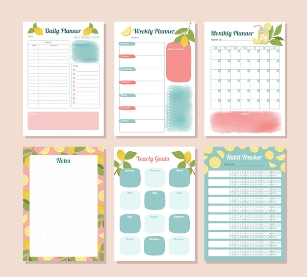 Set of daily monthly yearly habit tracker planner with watercolor lemon illustration