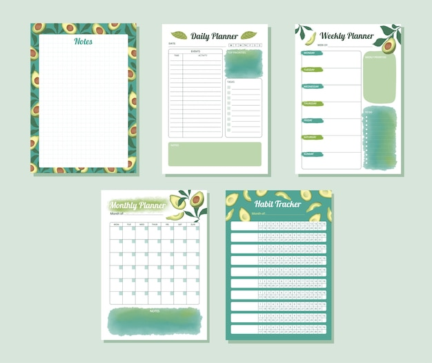 Set of daily weekly monthly habit tracker planner in watercolor avocado teal color design illu