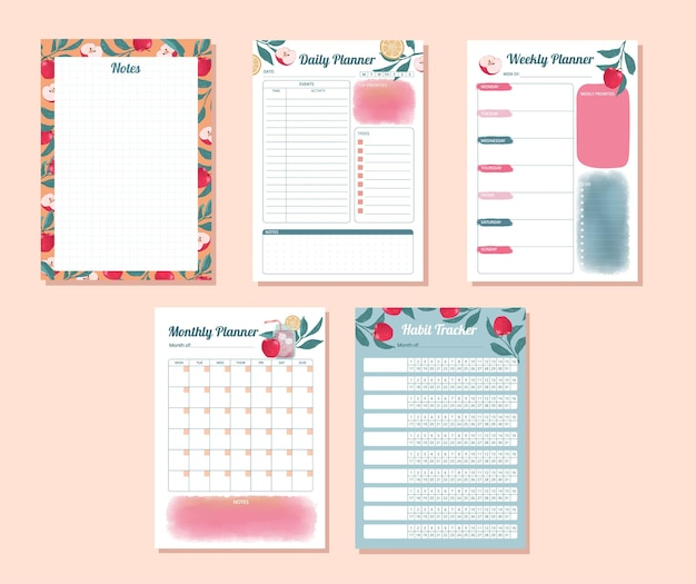 Set of daily weekly monthly habit tracker with watercolor apple design illustration
