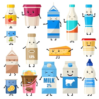 Set of dairy characters. illustration