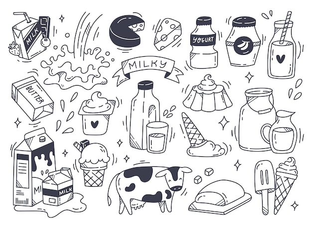 Set of dairy product in doodle style illustration