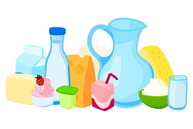 Набор молочных продуктов, ломтик сыра, тарелка йогурта, кувшин молока и десерт