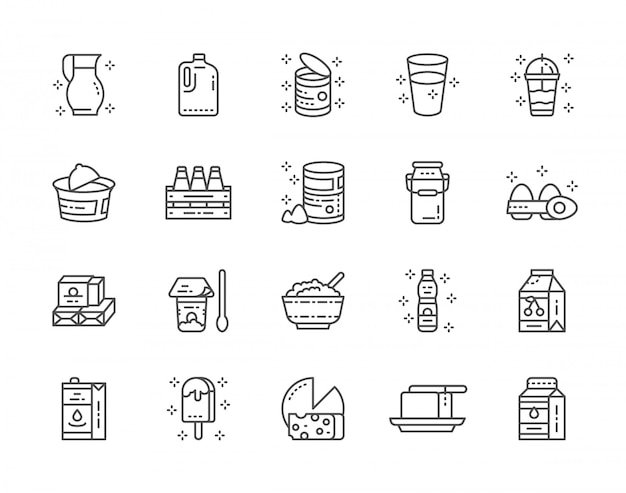 Set of dairy products line icons. milk, cream, kefir, yogurt, milkshake and more