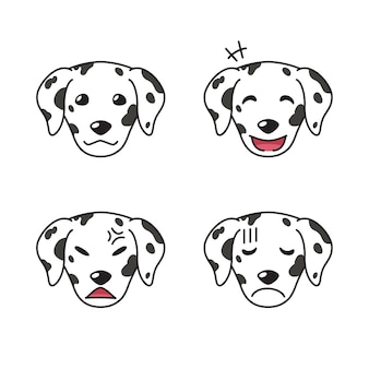 Set of dalmatian dog faces showing different emotions