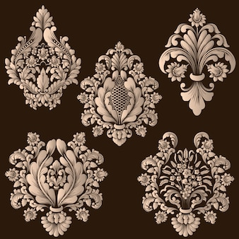 Set of damask ornamental elements. elegant floral abstract elements.