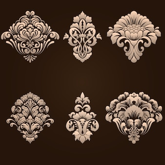 Set of damask ornamental elements