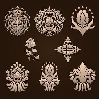 Set of damask ornamental elements