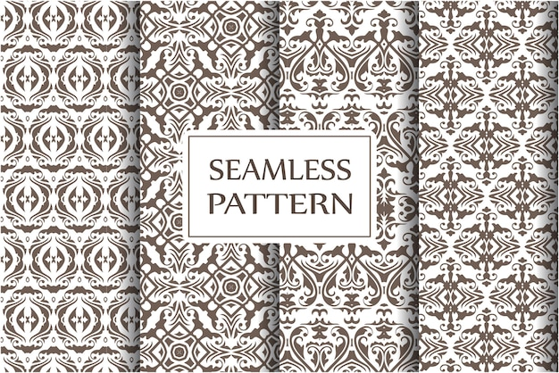 Set of damask seamless pattern backgrounds. classical luxury old fashioned baroque ornament