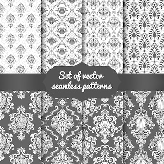 Set of damask seamless pattern backgrounds. classical luxury old fashioned damask ornament