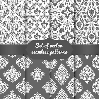 Set of damask seamless pattern elements